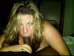 White Slut in Interracial Rendezvous Blowjob with Black Cock