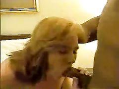 White Blonde Milf Sucks and Fucks Big Black Cock on Camera