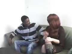 Busty Mature Redhead Milf Lets Black Boy Fuck Her on Couch