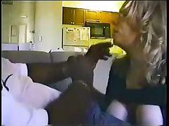 Hot Interracial Blowjob Blonde Girl Receives Cumshot from BBC