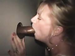 White Wife at GloryHole Suck and Fucks Black Cock