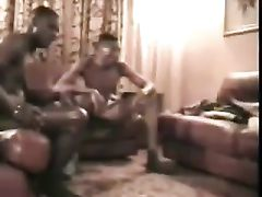Two African Black Men Training White Slave Wife to Worship BBC