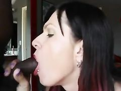 White Woman Black Man Sucking Dick Swallowing and Spitting Cum