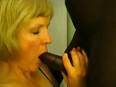 Innocent Looking Blonde Mature Becomes Wild Sucking Black Dick