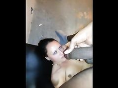 Pretty Face White Girl Fucked in Mouth with Big Black Cock