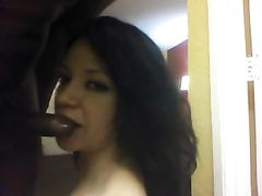 Latina Woman Sucks Off Black Dick and Cleans it Fully