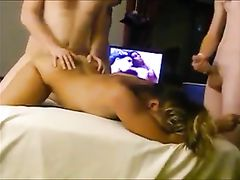 Young Men Fucking a Mature Wife with Husband Watching