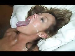 Facial Cumshot for Mature White Woman from Black Cock
