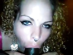 White Slut Giving Blowjob on Black Dick and Taking His Jizz