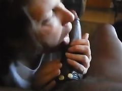 Granny sucks big black cock with a BBC stud